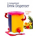 3 IN 1 3 COMPARTMENT ROTATE ROTATING SPIN JUICE DRINK DISPENSER